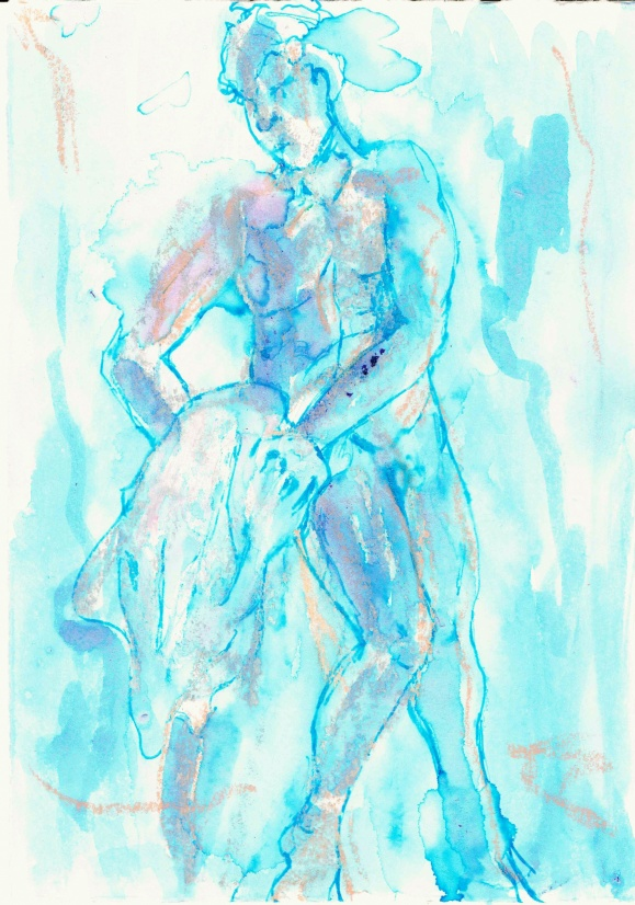 Standing nude (draped 3), 2016, ink on paper, 5 x 7 inches.
