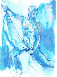 Standing nude (draped 2), 2016, ink on paper, 5 x 7 inches.