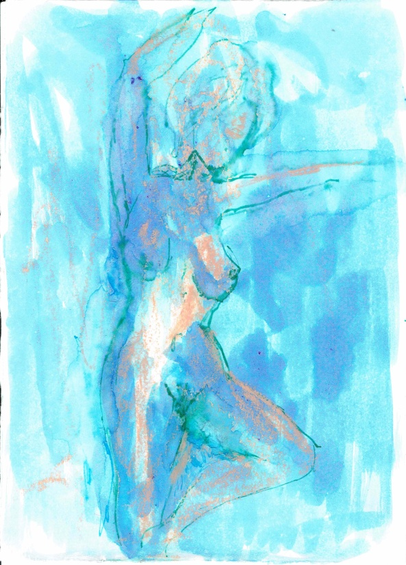 Posing nude (female 1), 2016, ink on paper, 5 x 7 inches. SOLD.