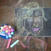 """28 February 2017 #TravelTuesday """"You can discover more about a person in an hour of play than in a year of conversation.""""-Richard Lingard #365LoveNotesToSelf Day 15, Sidewalk chalk on slate tile floor"""