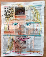 03 March 2017 #FridayFeeling 'We are never more fully alive, more completely ourselves, or more deeply engrossed in anything, than when we are at play.'-Charles E. Schaefer #365LoveNotesToSelf Day 18, Oil crayon on newspaper