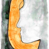 """09 March 2017 L is for """"luminous"""", """"loyal"""", """"loving"""", and """"lovely"""" (from 'text self portrait' project, 2012) & drawing my face with font #365LoveNotesToSelf Day 24, ink on paper"""