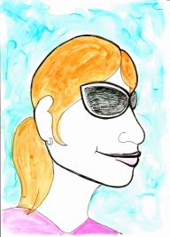 """12 March 2017 #SundayFunday E is for """"eccentric"""" (from 'text self portrait' project, 2012) & drawing my face with font #365LoveNotesToSelf Day 27, ink on paper"""