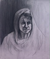 """23 March 2017 #ThrowbackThursday """"We cannot direct the wind but we can adjust the sails.""""-unknown #365LoveNotesToSelf Day 38, charcoal on paper, 2014 #arttherapy #selfportrait"""