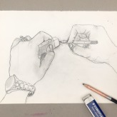 1 April 2017 #SaturdaySecret As you grow older, you will discover that you have two hands, one for helping yourself, the other for helping others.-Audrey Hepburn #365LoveNotesToSelf Day 47, graphite on paper