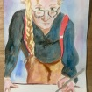 Me as David Hockney wearing red braces 2003 age 66 #365LoveNotesToSelf Day 115, ink on paper