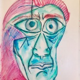 Me as Pablo Picasso 'facing death' 1972 (the year I was born) #365LoveNotesToSelf Day 121, ink on paper