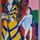Me as Kirchner in the studio with model 1910/26 #365LoveNotesToSelf Day 125, oil on canvas