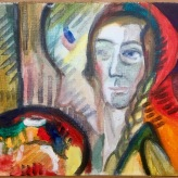 """A newly-discovered Fauv-ourite painter ;) Me as """"radical Swiss painter"""" Alice Bailly 1917 #365LoveNotesToSelf Day 128, oil on canvas"""