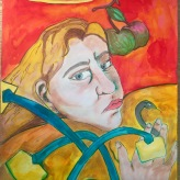 Me as Paul Gaugin with a snake and a halo 1889 #365LoveNotesToSelf Day 129, ink on paper