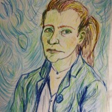 Me as Van Gogh 1889 #365LoveNotesToSelf Day 135, pencil on paper #selfportrait #arttherapy #loveyourself #artistsofinstagram #rememberingvincent