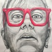 Me as Chuck Close 1968 #365LoveNotesToSelf Day 137, charcoal and coloured chalk, 1.3 m x 1.5 m