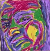 Me in Ed Paschke palette 1990s #365LoveNotesToSelf Day 146 oil on canvas
