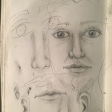 Trying to find my face today #365LoveNotesToSelf Day 154 ink and graphite