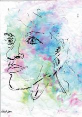 Trying to focus on the colours in my mind, instead of the illness slowing me down #365LoveNotesToSelf Day 187 reed pen and ink over ink wash (digitally edited)