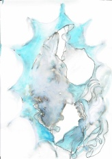 Blue is what dreams are made of #365LoveNotesToSelf Day 195 ink and wax crayon