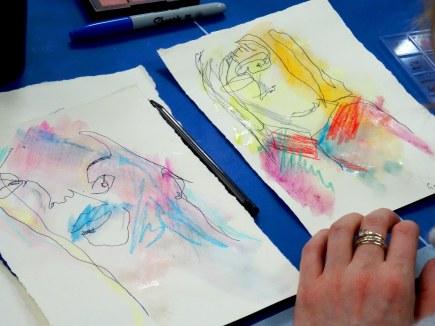 Blind-contour self-portraits by E---- at Passage House, London. Photo credit Kelise Franclemont.